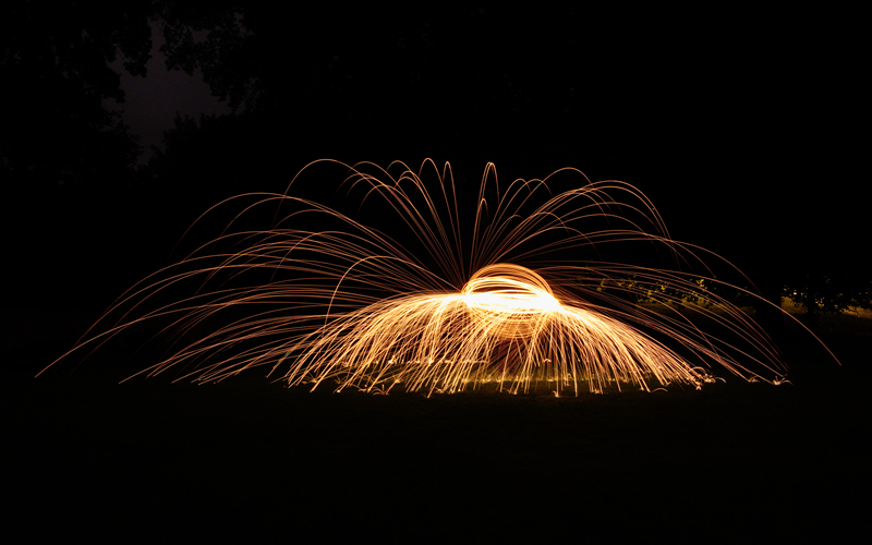 Wire Wool Spinning - Umbrella